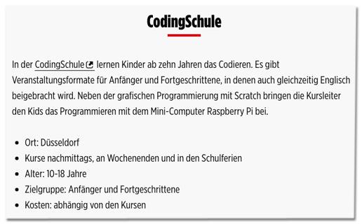 Screenshot Bild.de - In der CodingSchule lernen Kinder ab zehn Jahren das Codieren. Es gibt Veranstaltungsformate für Anfänger und Fortgeschrittene, in denen auch gleichzeitig Englisch beigebracht wird. Neben der grafischen Programmierung mit Scratch bringen die Kursleiter den Kids das Programmieren mit dem Mini-Computer Raspberry Pi bei.