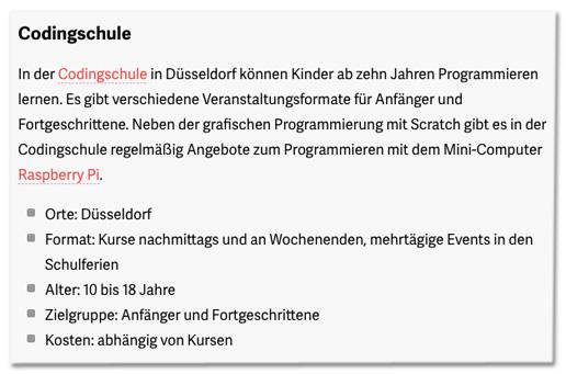 Screenshot t3n.de - In der Codingschule in Düsseldorf können Kinder ab zehn Jahren Programmieren lernen. Es gibt verschiedene Veranstaltungsformate für Anfänger und Fortgeschrittene. Neben der grafischen Programmierung mit Scratch gibt es in der Codingschule regelmäßig Angebote zum Programmieren mit dem Mini-Computer Raspberry Pi.
