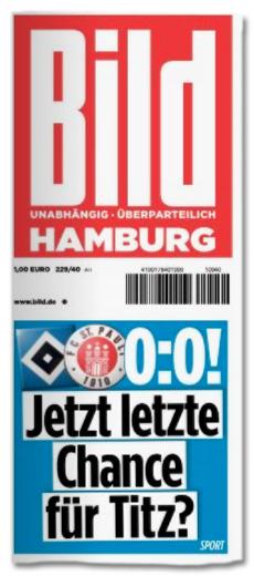 Ausriss Bild-Zeitung - 0:0 gegen St. Pauli - Jetzt letzte Chance für Titz?