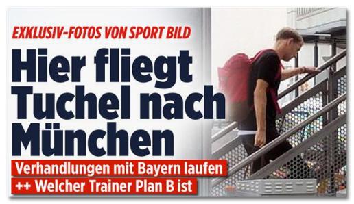 Screenshot Bild.de - Exklusiv-Fotos von Sport Bild - Hier fliegt Tuchel nach München - Verhandlungen mit Bayern laufen - Welcher Trainer Plan B ist
