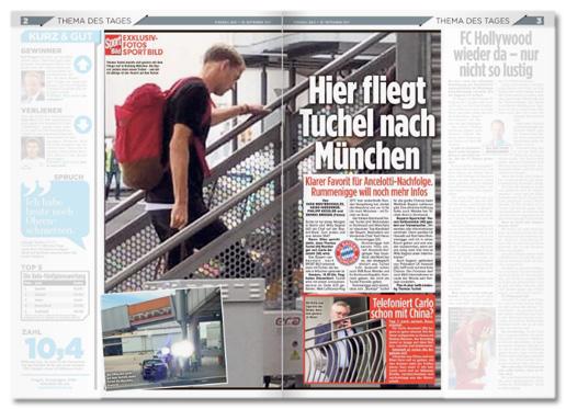 Ausriss Doppelseite von Fußball Bild - Hier fliegt Tuchel nach München