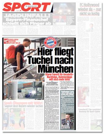 Ausriss Bild-Zeitung - Hier fliegt Tuchel nach München