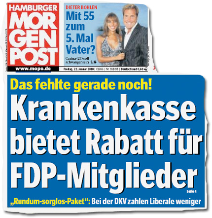 Titelseite der 'Hamburger Morgenpost' vom 22.1.201