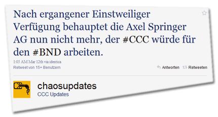 Nach ergangener Einstweiliger Verfügung behauptet die Axel Springer AG nun nicht mehr, der #CCC würde für den #BND arbeiten.
