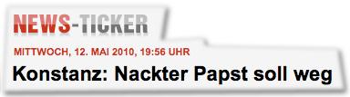 Konstanz: Nackter Papst soll weg