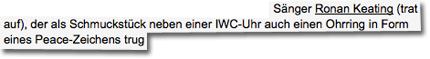 Schauspieler Jean Reno mit seiner Frau Zofia, Schauspieler Sebastian Koch, Box-Champ Vitali Klitschko, Weltfußballer Luis Figo mit Frau Helen, Oliver Bierhoff mit Frau Klara, Sänger Ronan Keating (trat auf), der als Schmuckstück neben einer IWC-Uhr auch einen Ohrring in Form eines Peace-Zeichens trug.