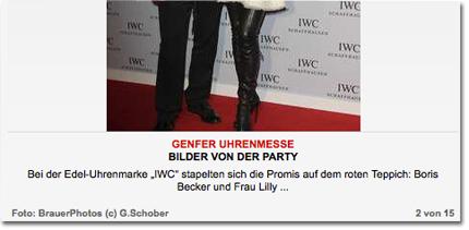 """Bei der Edel-Uhrenmarke """"IWC"""" stapelten sich die Promis auf dem roten Teppich: Boris Becker und Frau Lilly ..."""