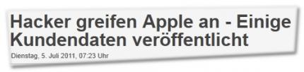 Hacker greifen Apple an - Einige Kundendaten veröffentlicht