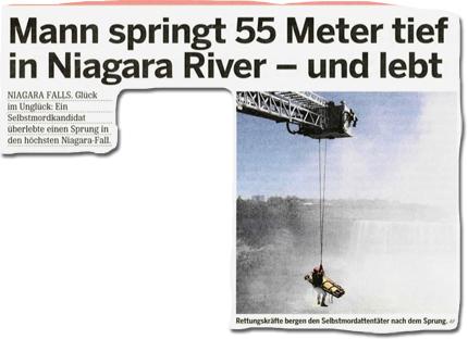 Mann springt 55 Meter tief in Niagara River - und lebt!