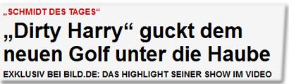 """""""Dirty Harry"""" guckt dem neuen Golf unter die Haube"""