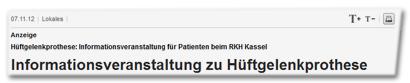 Anzeige: Informationsveranstaltung zu Hüftgelenkprothese