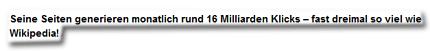 Seine Seiten generieren monatlich rund 16 Milliarden Klicks – fast dreimal so viel wie Wikipedia!