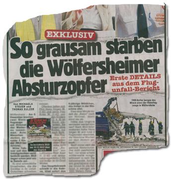 EXKLUSIV - So grausam starben die Wölfersheimer Absturzopfer. Erste DETAILS aus dem Flugunfall-Bericht