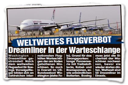 WELTWEITES FLUGVERBOT - Dreamliner in der Warteschlange