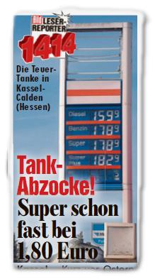 Die Teuer-Tanke in Kassel-Kalden (Hessen) - Tank-Abzocke! Super schon fast bei 1,80 Euro