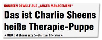 """NOUREEN DEWULF AUS """"ANGER MANAGEMENT"""" - Das ist Charlie Sheens heiße Therapie-Puppe - BILD traf Sheens sexy Co-Star zum Interview"""