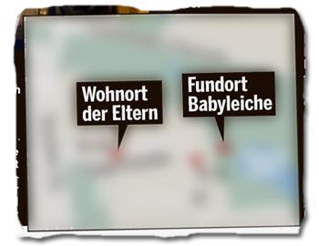 [Eine Karte, auf der sowohl der Fundort der Babyleiche als auch der Wohnort der Eltern eingezeichnet sind]