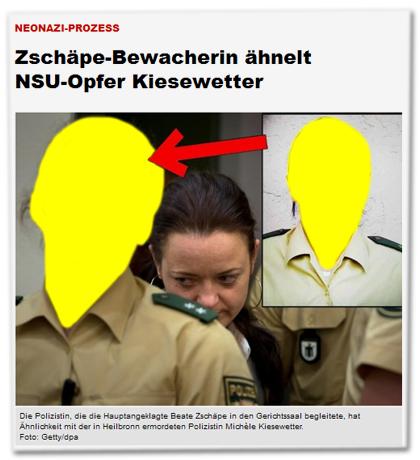 Neonazi-Prozess - Zschäpe-Bewacherin ähnelt NSU-Opfer Kiesewetter [Bildunterschrift:] Die Polizistin, die die Hauptangeklagte Beate Zschäpe in den Gerichtssaal begleitet, hat Ähnlichkeit mit der in Heilbronn ermordeten Polizistin Michéle Kiesewetter.