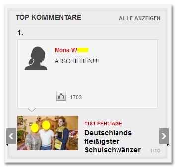 """Top-Kommentare - Platz 1: """"ABSCHIEBEN!!!!"""" von Mona [XY]. 1703 Likes."""