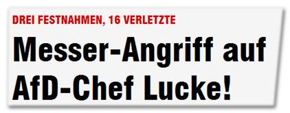 Drei Festnahmen, 16 Verletzte - Messer-Angriff auf AfD-Chef Lucke!