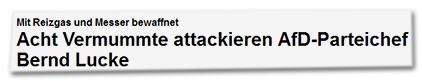 Mit Reizgas und Messer bewaffnet - Acht Vermummte attackieren AfD-Parteichef Bernd Lucke