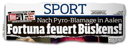Nach Pyro-Blamage - Fortuna feuert Büskens