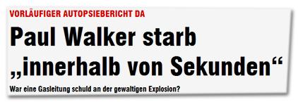 """Vorläufiger Autopsiebericht da - Paul Walker starb """"innerhalb von Sekunden"""" - War eine Gasleitung schuld an der gewaltigen Explosion?"""
