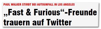 """Paul Walker stirbt bei Autounfall in Los Angeles - """"Fast & Furiois""""-Freunde trauern auf Twitter"""
