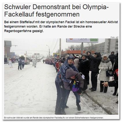 Schwuler Demonstrant bei Olympia-Fackellauf festgenommen - Bei einem Staffellauf mit der olympischen Fackel ist ein homosexueller Aktivist festgenommen worden. Er hatte am Rande der Strecke eine Regenbogenfahne gezeigt.