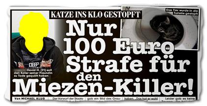 KATZE INS KLO GESTOPFT - Nur 100 Euro Strafe für den Miezen-Killer