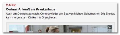 11.14 Uhr - Corinna-Ankunft am Krankenhaus - Auch am Donnerstag wacht Corinna wieder am Bett von Michael Schumacher. Die Ehefrau kam morgens am Klinikum in Grenoble an.