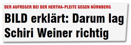 Der Aufreger bei der Hertha-pleite gegen Nürnberg - BILD erklärt: Darum lag Schiri Weiner richtig