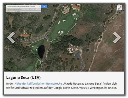 """Laguna Seca (USA)  In der Nähe der kalifornischen Rennstrecke """"Mazda Raceway Laguna Seca"""" finden sich weiße und schwarze Flecken auf der Google-Earth-Karte. Was sie verbergen, ist unklar."""