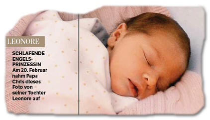 LEONORE - SCHLAFENDE ENGELSPRINZESSIN - Am 20. Februar nahm Papa Chris dieses Foto von seiner Tochter Leonore auf