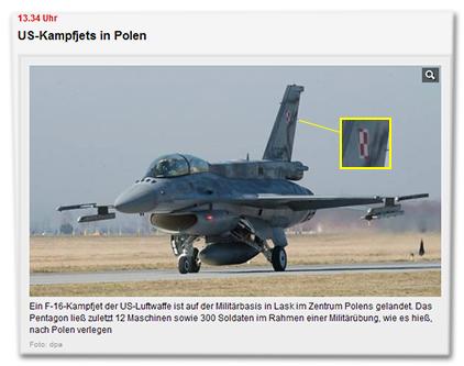US-Kampfjets in Polen - Ein F-16-Kampfjet der US-Luftwaffe ist auf der Militärbasis in Lask im Zentrum Polens gelandet. Das Pentagon ließ zuletzt 12 Maschinen sowie 300 Soldaten im Rahmen einer Militärübung, wie es hieß, nach Polen verlegen