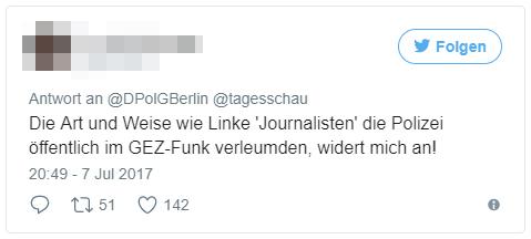 Die Art und Weise wie Linke 'Journalisten' die Polizei öffentlich im GEZ-Funk verleumden, widert mich an!