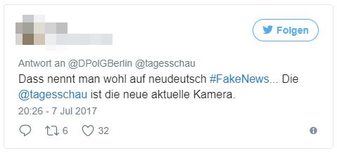 Dass nennt man wohl auf neudeutsch #FakeNews... Die @tagesschau ist die neue aktuelle Kamera
