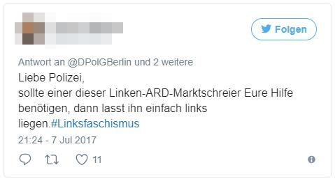 Liebe Polizei, sollte einer dieser Linken-ARD-Marktschreier Eure Hilfe benötigen, dann lasst ihn einfach links liegen. #Linksfaschismus
