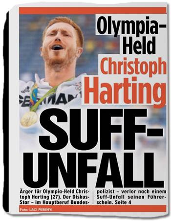 Olympia-Held Christoph Harting - SUFF-UNFALL - Ärger für Olympia-Held Christoph Harting (27). Der Diskus-Star - im Hauptberuf Bundespolizist - verlor nach einem Suff-Unfall seinen Führerschein.