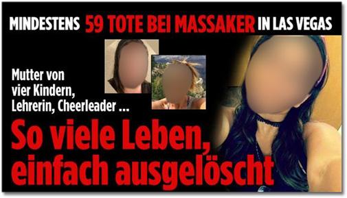 Mindestens 59 Tote bei Massaker in Las Vegas - Mutter von vier Kindern, Lehrerin, Cheerleader - So viele Leben einfach ausgelöscht [dazu mehrere Porträtfotos von Opfern des Massakers]
