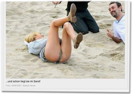 ...und schon liegt sie im Sand!