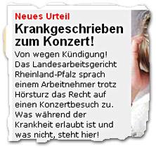 """""""Neues Urteil: Krankgeschrieben zum Konzert!"""""""