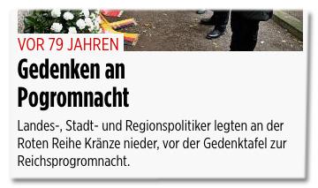 Screenshot Bild.de - Landes-, Stadt- und Regionspolitiker legten an der Roten Reihe Kränze nieder, vor der Gedenktafel zur Reichsprogromnacht.