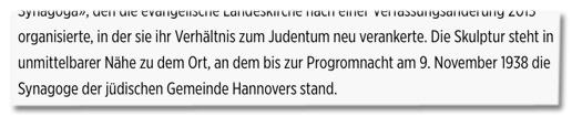 Screenshot Bild.de - Die Skulptur steht in unmittelbarer Nähe zu dem Ort, an dem bis zur Progromnacht am 9. November 1938 die Synagoge der jüdischen Gemeinde Hannovers stand.