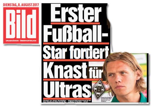 Ausriss Bild-Titelseite - Erster Fußball-Star fordert Knast für Ultras