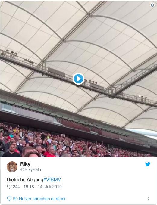 Screenshot eines Tweets von RikyPalm - Dietrichs Abgang - dazu ein Video des Abgangs des da noch amtierenden VfB-Präsidenten