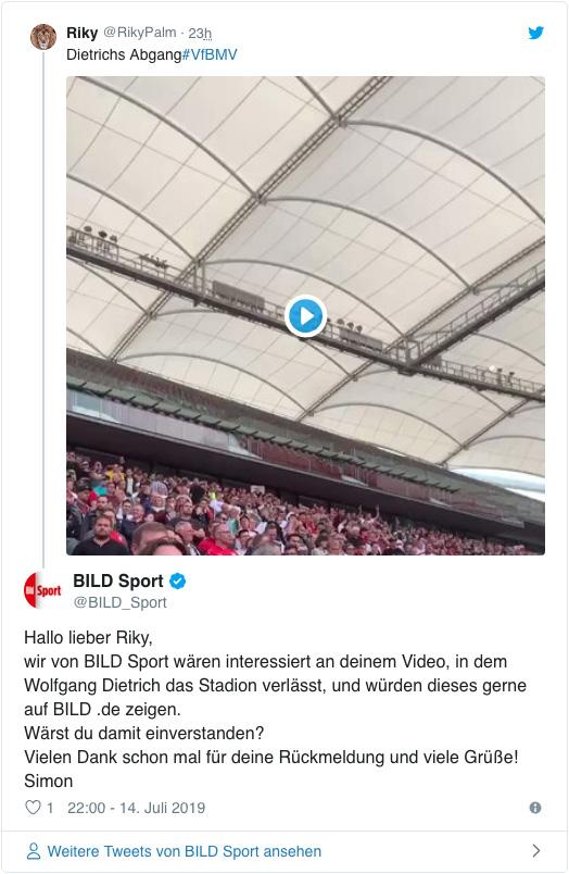 Screenshot eines Tweets von Bild Sport - Hallo lieber Riky, wir von BILD Sport wären interessiert an deinem Video, in dem Wolfgang Dietrich das Stadion verlässt, und würden dieses gerne auf BILD .de zeigen. Wärst du damit einverstanden? Vielen Dank schon mal für deine Rückmeldung und viele Grüße