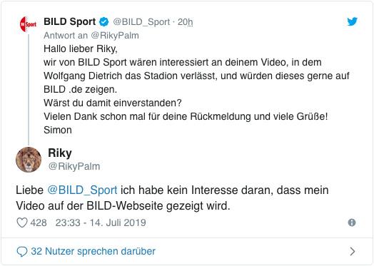 Screenshot eines Tweets von RikyPalm- Liebe Bild Sport ich habe kein Interesse daran, dass mein Video auf der Bild-Webseite gezeigt wird.