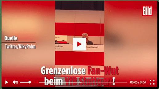 Screenshot Bild.de - Grenzenlose Fan-Wut beim VfB Stuttgart - VfB-Präsident mit Leibwächtern aus dem Stadion gebracht - dazu ein Video mit der Quellenangabe: Twitter/RikyPalm