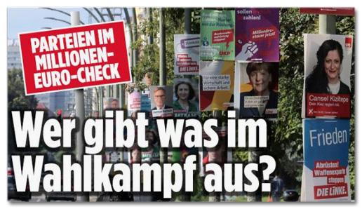 Ausriss Bild.de - Parteien im Millionen-Euro-Check - Wer gibt was im Wahlkampf aus?